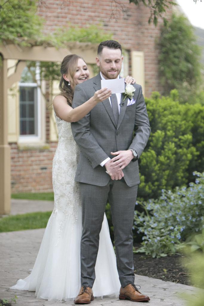 Bride gives groom gift